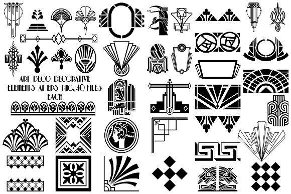 Art Deco Decorative Elements Vector Art Deco Design Graphics Art Deco Design Art Deco
