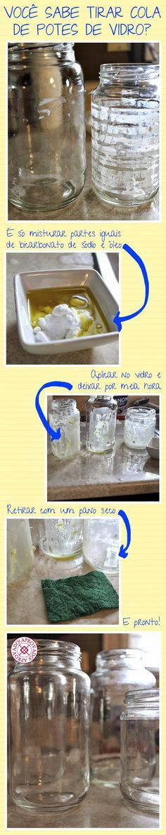Retirando a cola de potes de vidro!