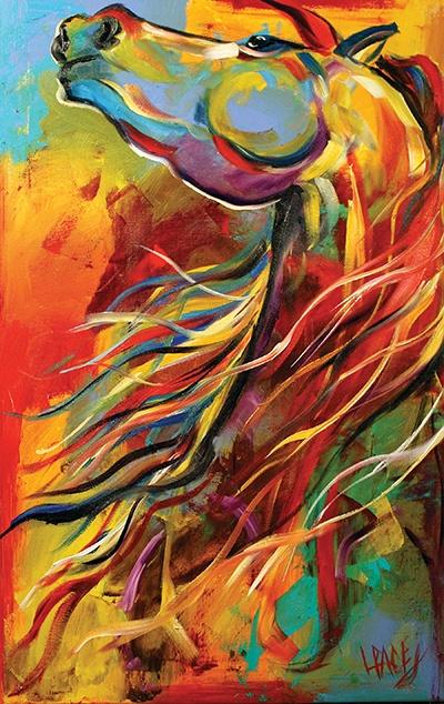Dibujo de un caballo llevado a cabo mediante el trazo de líneas de varios colores