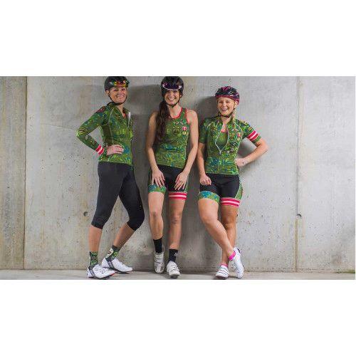 Combinatie van het Camouflage fietsshirt inclusief armwarmers en de bijpassende fietsbroek aan voordelige setprijs.