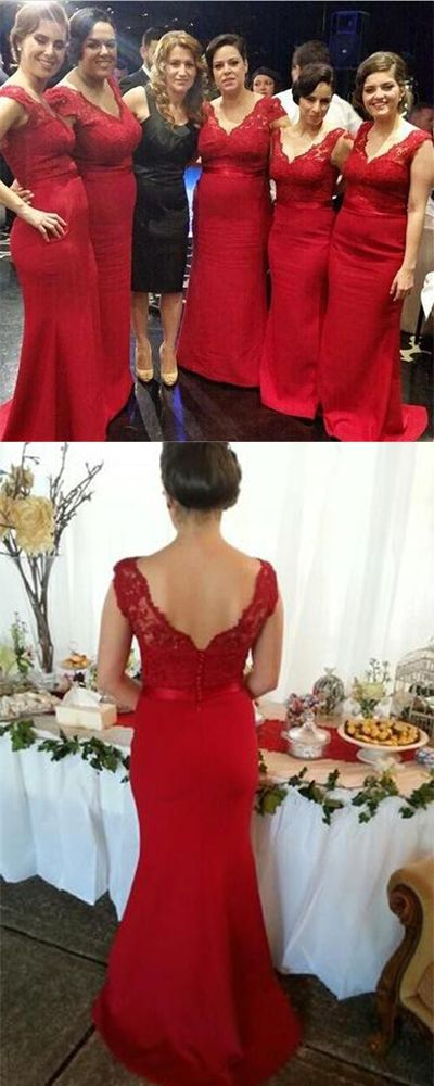 Red Button Backless Plus Size Mermaid Cap Sleeves V-neck Long Lace Bridesmaid Dresses#bridaldress,#womendress