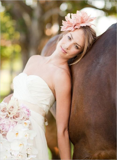 Wedding Inspiration picture with my horse in my dress...  After he gets me a horse of course