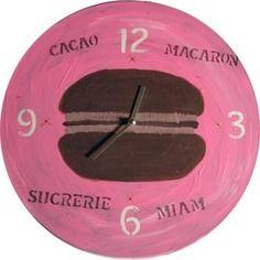 Horloge macaron rose vinyle 33t