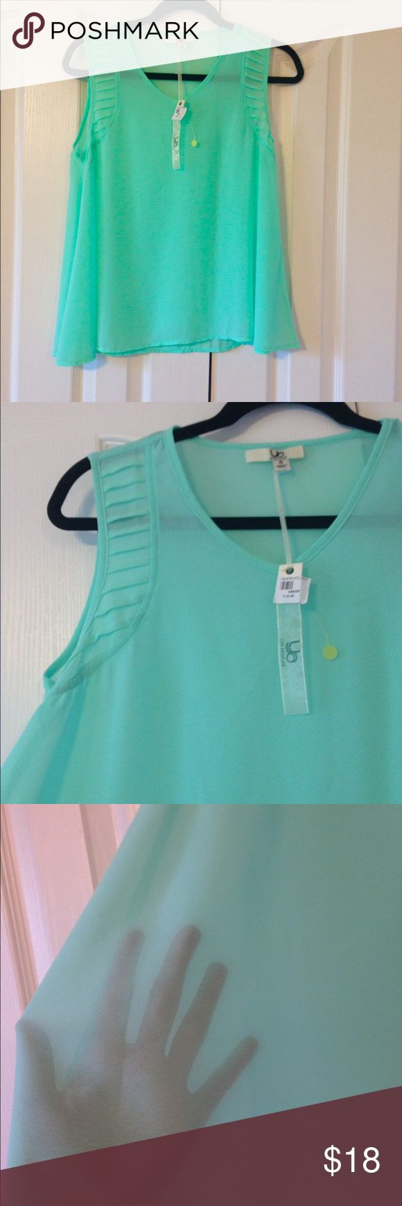 NWT Bright mint blouse NWT gorgeous piece. Airy and great for Summer. Ya Los Angeles Tops Blouses