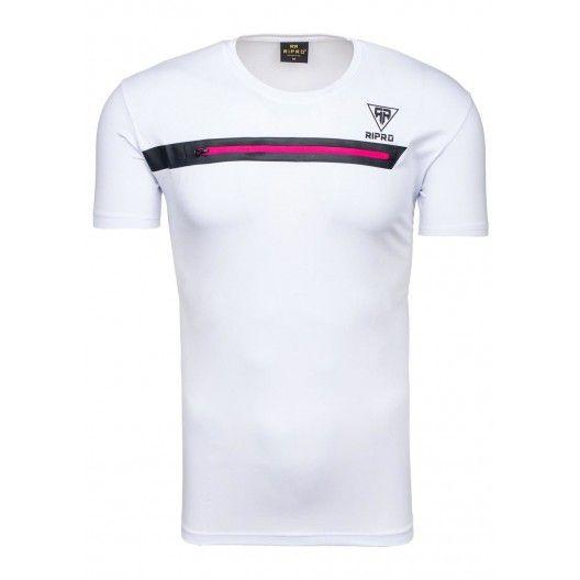 Sexy tričko pro pány v bílé barvě se zipem - manozo.cz