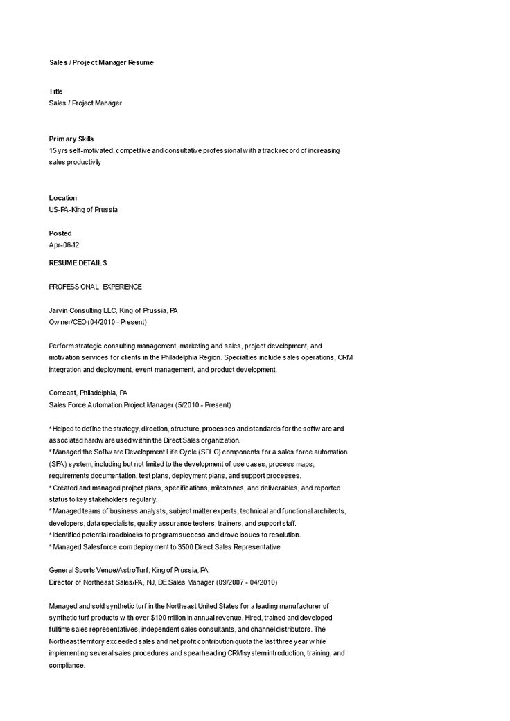 41+ Project manager resume sample free download trends