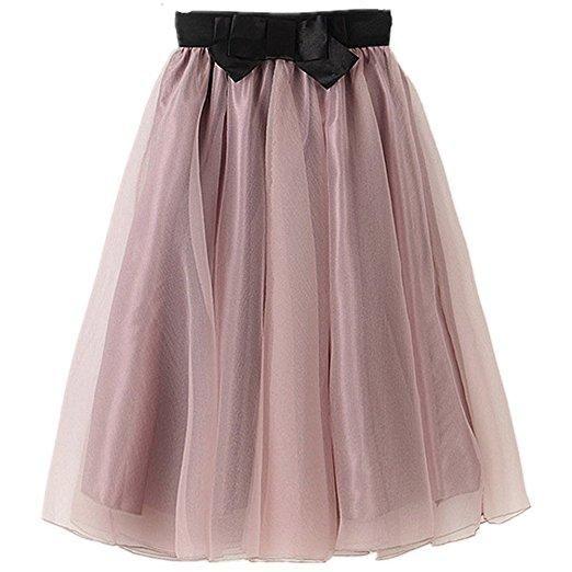Organza and silk casual  knee length tutu skirt S63