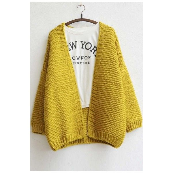 Women's Fashion Open-Front Batwing Sleeve Loose Fit Cardigan (2,855 INR) ❤ liked on Polyvore featuring tops, cardigans, yellow cardigan, long cardi, loose fitting tops, loose tops and long tops