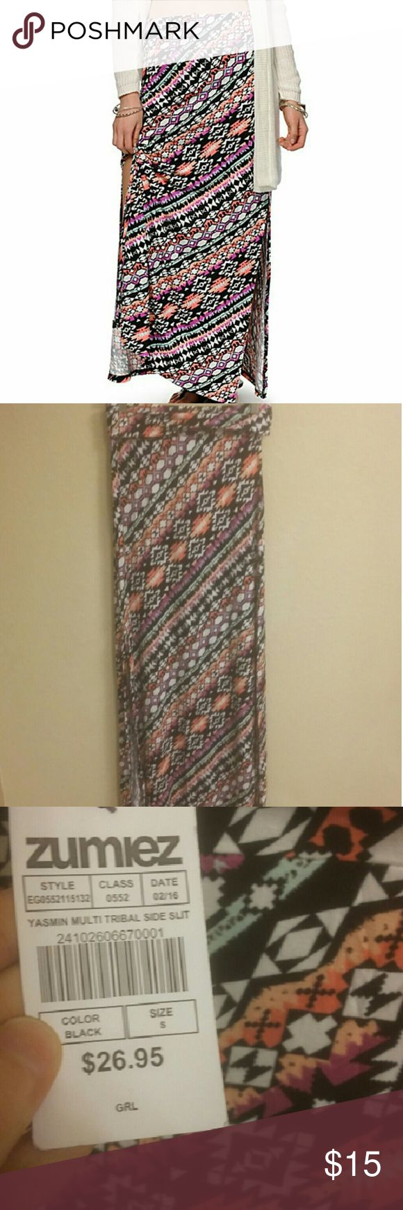 NWT Multicolor Tribal Maxi Skirt! NWT. True to size. Has a slit up the side which can be seen in the first photo. Empyre Skirts Maxi