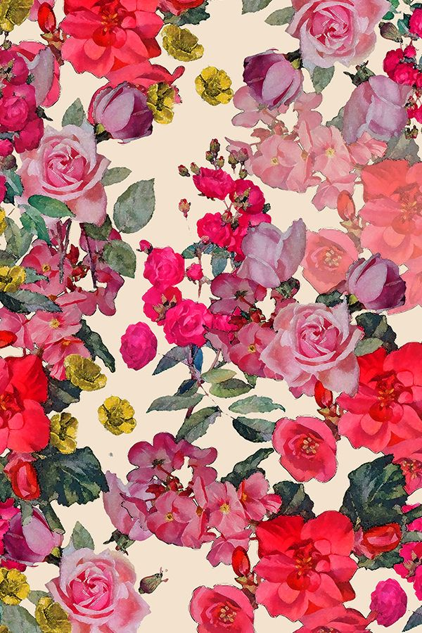 Antique Roses Floral Print on Off White by theartwerks.   A pretty vintage inspired floral print with roses and red, pink, and yellow flowers on an antique white background.  Available in fabric, wallpaper and gift wrap.