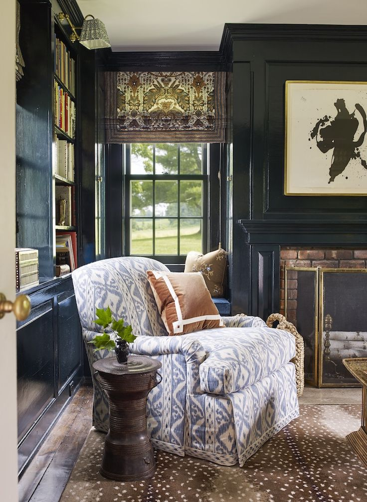Ashley Whittaker Interior Design, Blue Lacquered Walls, Library, Blue and White Ikat Chair