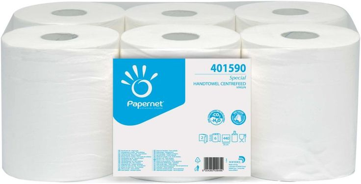 Prosoape cu derulare centrala Special Papernet fabricata din celuloza, 2 straturi, lungime 154m.