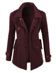 Love the dark color and the fitted look of this jacket!  LE3NO Womens Classic Double Breasted Pea Coat Jacket with Pockets