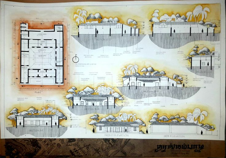 Plan elevation section of marikar residence (documentation)