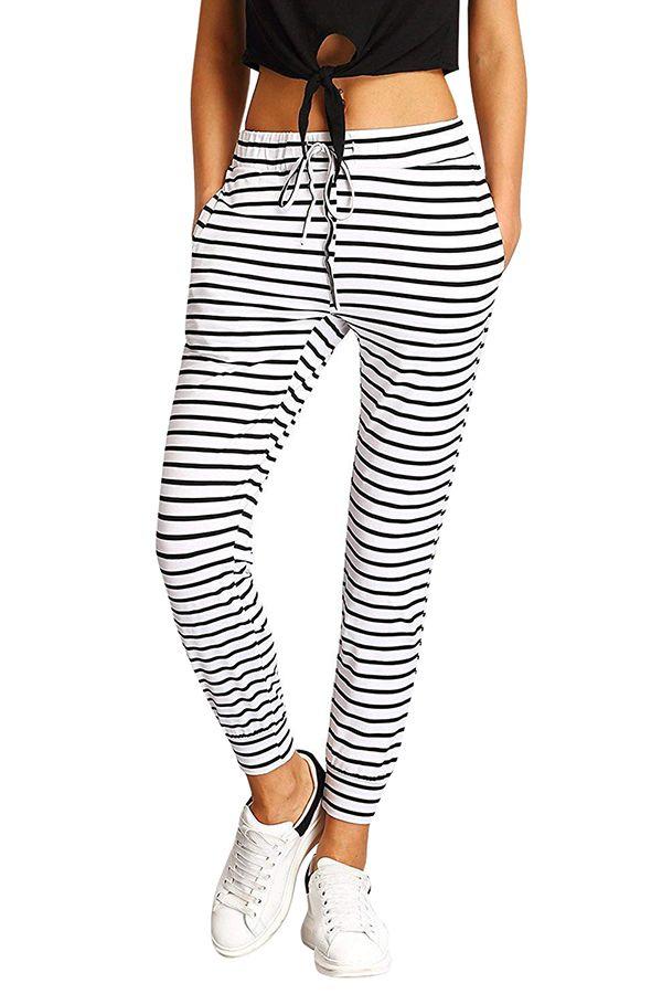 Elastic Drawstring Waist Pocket Striped Sweatpants Black Striped Sweatpants Pants For Women Casual Tie