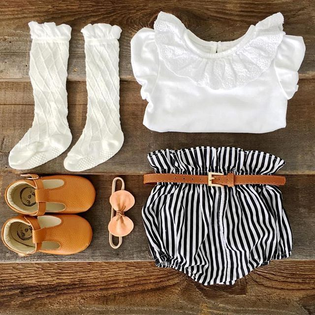 •TOO TOO CUTE• love me some knee high socks, paper-bag bloomers and t-bar moccasins • the tan t-bars are almost sold out we are just uploading the last of the stock now • #fawnandfinch