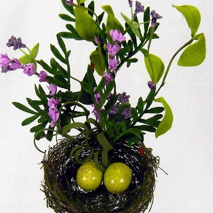 1 Pc, 15 Inch Tall Artificial Bird Nest Wire Pick With Lavender (Purple) Features Two Green Styrofoam Spotted Eggs