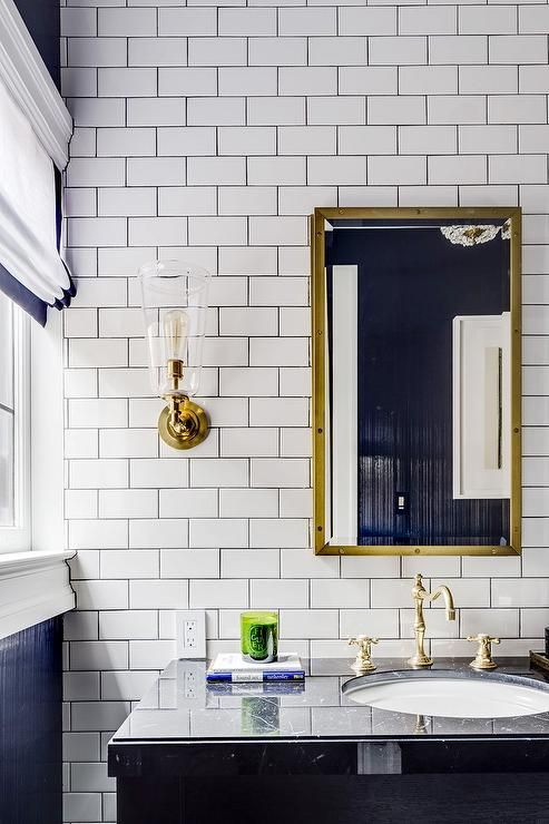 Stunning Bathroom Features An Accent Wall Clad In White
