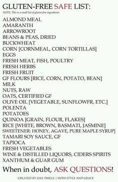 Gluten free list, helpful For school snack