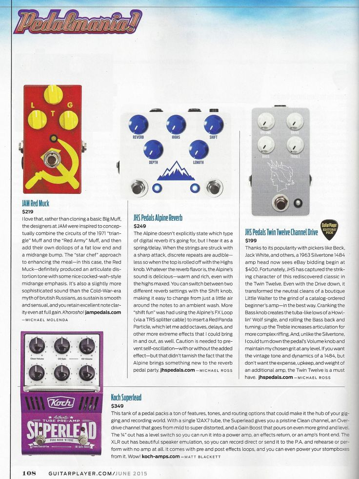 Second page on the June 2015 issue of  Guitar Player Magazine and our Red Muck stands proudly among others!!  #RedMuck #jampedals