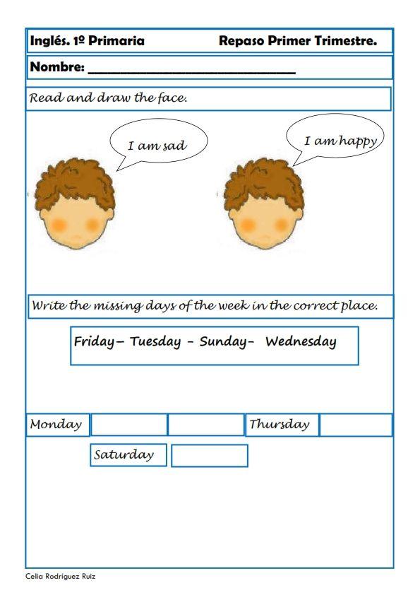 RECURSOS EDUCATIVOS: Fichas de Inglés Hoy comenzamos con fichas de ingles para alumnos de Primaria. Les toca el turno a