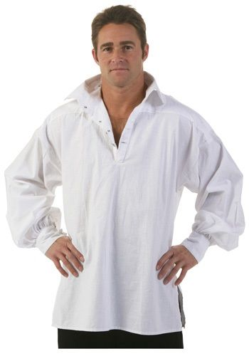 This Men's White Renaissance Shirt is a great addition to any pair of renaissance breeches or sailor pants. This also makes a good pirate shirt for Halloween.