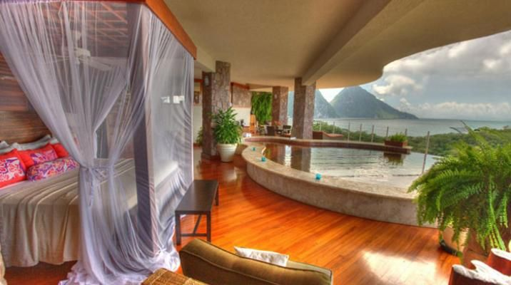 Suite med udsigt til pitonerne på Jade Mountain, St. Lucia i Caribien