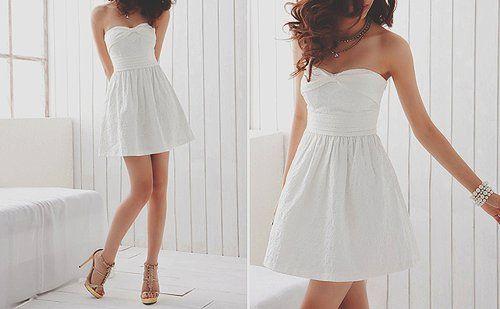 Adorable strapless white dress