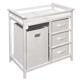 Badger Basket Modern Changing Table with Hamper - White : Target
