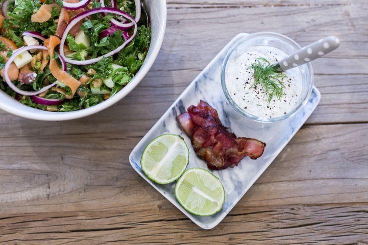 oppskrift-onsdag: salat med røket laks og bacon
