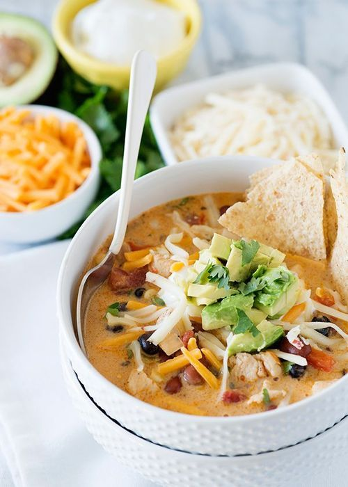 Creamy Chicken Tortilla Soup Recipe ~ Easy, cheap and delicious! Super easy to vegetarianize.