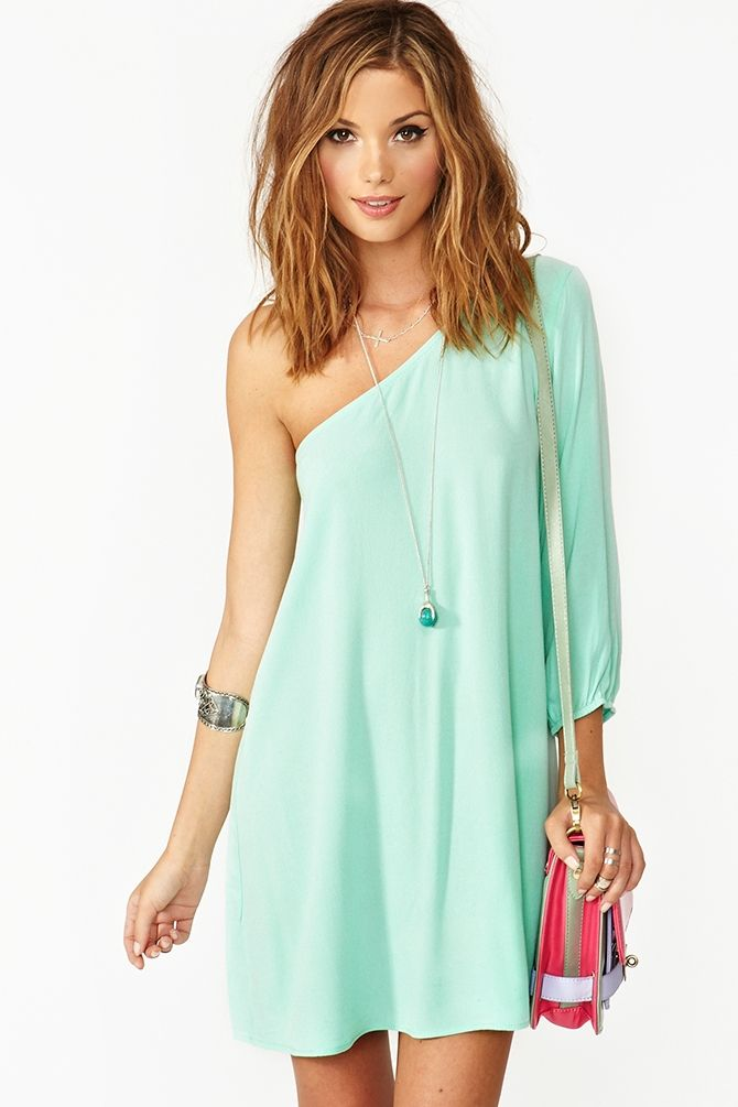 pretty one-shoulder, love the long sleeve and color, drape  Love this dress