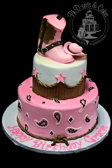 pink western cake ~ Donna, I pinned this for you and your cute little cowgirl!