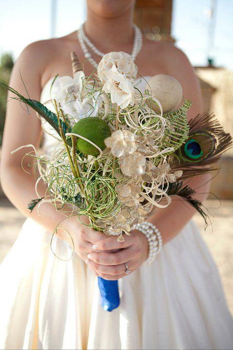 Peacock Bouquet Wedding UniqueNautical