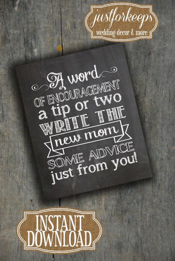 Baby Shower Advice Chalkboard Printable 8x10 PDF by justforkeeps