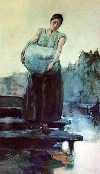 George Hendrik Breitner (Dutch, 1857-1923): The Washing Woman; oils on canvas, Impressionist school.