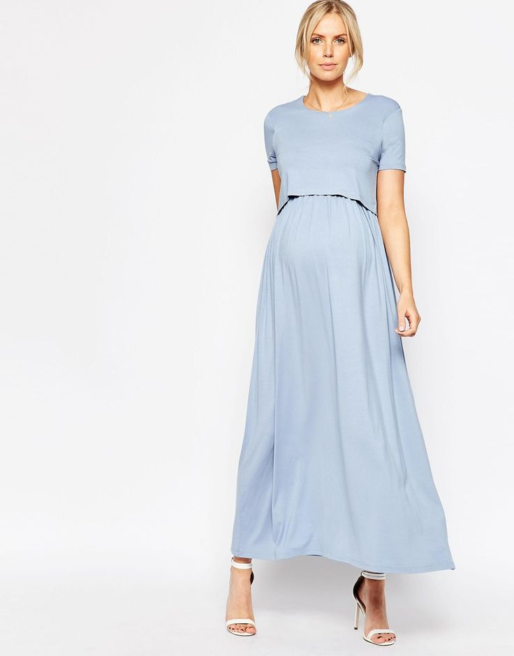 Image 4 of ASOS Maternity NURSING Maxi Dress With Double Layer