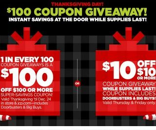 Visit JCPenney's Black Friday sale starting at 5pm November 27th for a FREE snow globe.