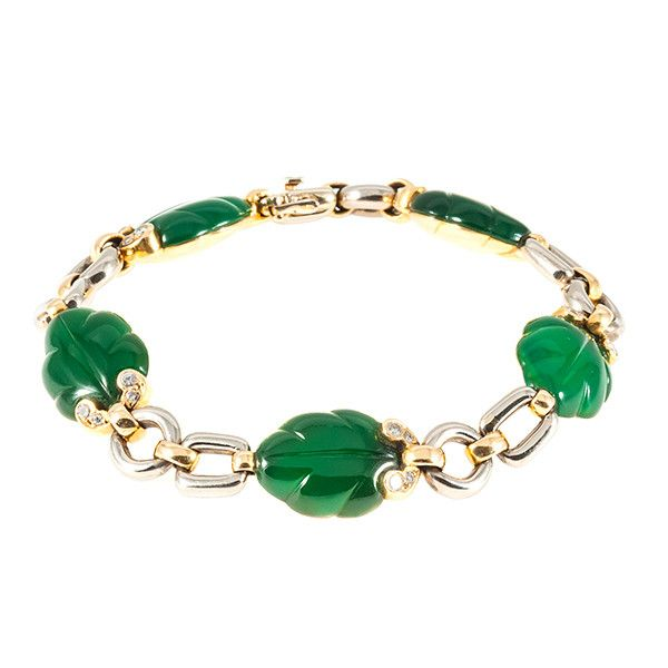 Nineties Cartier bracelet woth leafs in green chalcedony and brilliant cut diamonds