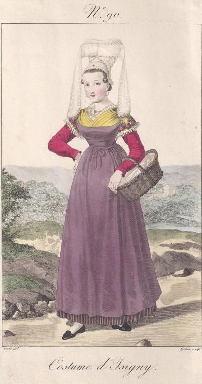 costume from Isigny, Normandy, drawn and engraved by Lanté et Gatine, 1819.   Isigny is the town where Walt Disney's family came from; he Americanised the spelling of his surname.......
