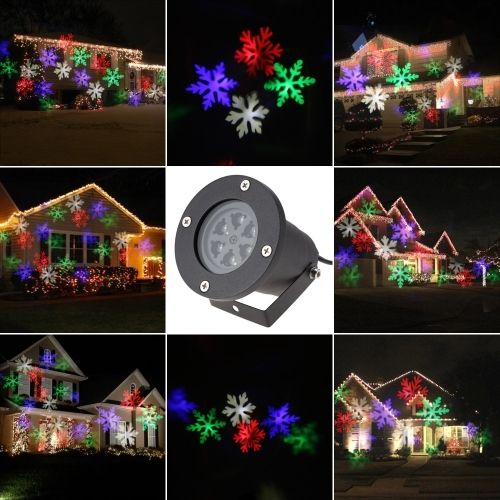 (23.99$)  Watch here  - 4W 4LED Moving White Snowflake Film Christmas Xmas Show Projector Light Outdoor IP65 Water Resistant Pattern Decoration Lamp for Landscape Lawn Garden Party Wedding