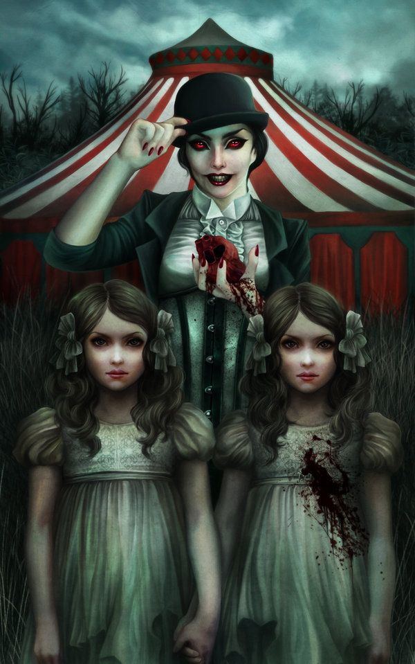 Merissa and the creepy twins. [Demonic Circus by vinegar.deviantart.com]