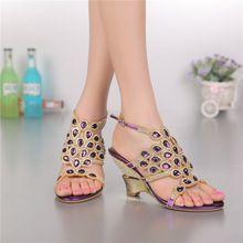 Lusso Cunei Scarpe di Strass Nozze Tacchi Alti Sandali Viola Diamante tacco alto Sandali Romani Scarpe di Piccola Dimensione 33(China (Mainland))