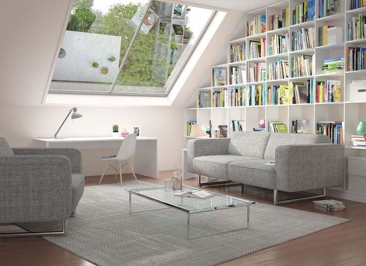 Moderne Wohnzimmer Bilder: Weißes Regal Unter Der Dachschrägen