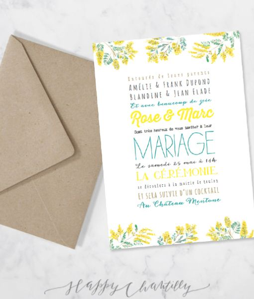 faire part mariage jaune moderne fleurs mimosa gai polices enveloppe kraft. Black Bedroom Furniture Sets. Home Design Ideas