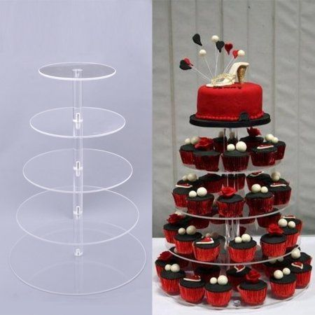 5 Tier Round Crystal Clear Acrylic Cupcake Tower Stand Wedding Display