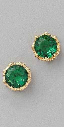 emerald green studs, I love emerald jewelry.