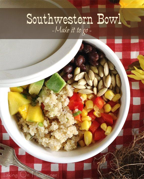 Southwestern Bowl | www.takingonmagazines.com | Packed with protein, fiber and flavor, this fantastic quinoa salad is bursting with good things, like mango, avocado and bell pepper.