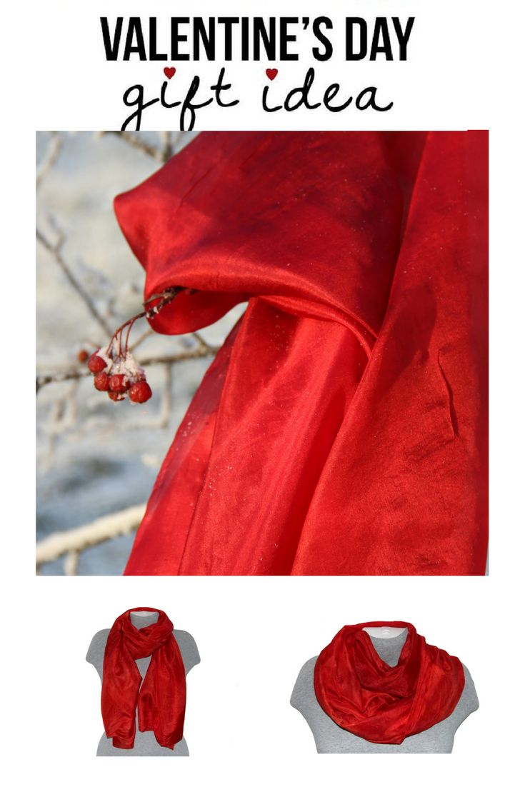 This elegant red hand painted silk scarf will help you to create a unique signature look. Beautiful red and dark red color combination turns this silk scarf into the One-of-a-Kind stylish gift. #valentinesday #silkcsarf #giftforher