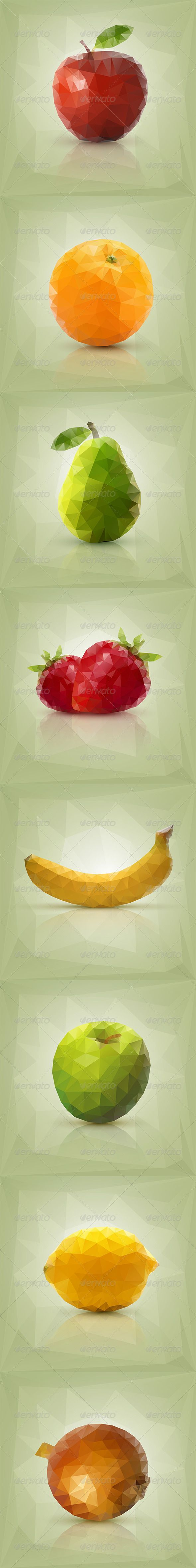 Triangle Polygon Fruit Vector Illustrations - Food Objects